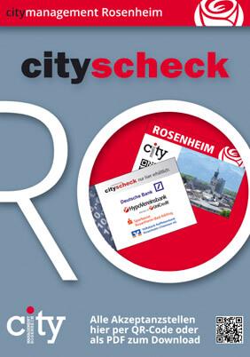 Cityscheck-Flyer mit QR-Code Akzeptanzstellen